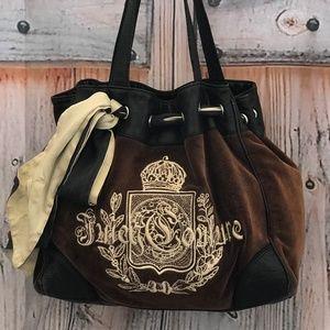 Velvet Brown and Black Juicy Couture Shoulder Bag